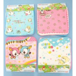 144 Units of 4pc 100% Cotton Printed Kids Washcloth - Towels