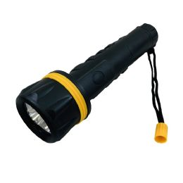 """48 Units of 9.75"""" 3 LED Flashlight [Black with Yellow Accent] - Flash Lights"""