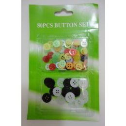 144 Units of 80pc Button Set - Sewing Supplies