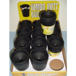 36 Units of Jumbo Butt Bucket-Black - Ashtrays