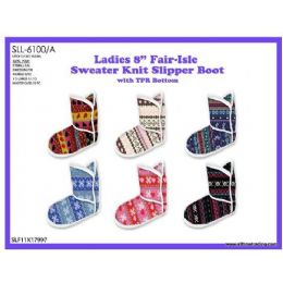 36 Units of Ladies 8 Inch Fair-Isle Sweater Knit Slipper Boot - Women's Boots