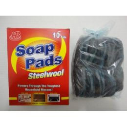 24 Units of 10pk Steel Wool Soap Pads - Scouring Pads & Sponges