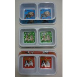 48 Units of Printed Double Pet Dish-Rectangle - Pet Accessories