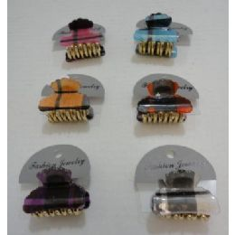 "72 Units of 1.5"" Mini Claw Clips-Plaid - Hair Accessories"