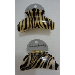 "72 Units of 3.5"" Claw Clip-Zebra Print - Hair Accessories"