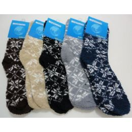 240 Units of Fuzzy Socks 10-13 [snowflakes] - Mens Crew Socks