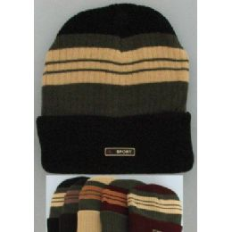 72 Units of Heavy Duty Knit Cap With Multicolor StripeS-Solid Fold - Winter Beanie Hats