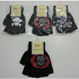 144 Units of Kids Fingerless GloveS--Skull - Kids Winter Gloves
