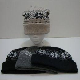 120 Units of Knit Snowflake Toboggan - Winter Beanie Hats