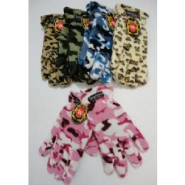 24 Units of Ladies Camo & Animal Print Fleece Gloves - Fleece Gloves