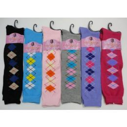 12 Units of Ladies Knee-High Argyle Socks 9-11 - Womens Knee Highs