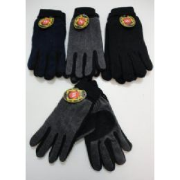 72 Units of Men's Cuffed Gloves With Suede Palm (two Tone) - Knitted Stretch Gloves