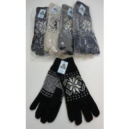 144 Units of Men's Thermal Insulate GloveS--Snowflakes - Knitted Stretch Gloves