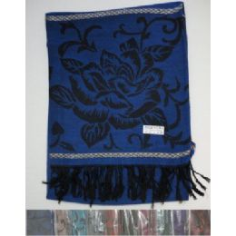 60 Units of Pashmina with Fringe-Metallic Roses - Winter Pashminas and Ponchos