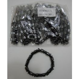 "72 Units of 7"" Black Magnetic BraceleT--Round - Bracelets"