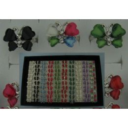 300 Units of Adjustable Ring-4 Wing Butterfly with 3 Stones - Rings