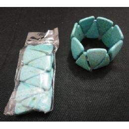 "72 Units of BraceleT-1.25"" Wideturquoise Sharktooth - Bracelets"
