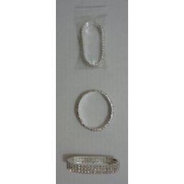 72 Units of BraceleT-3 Row Rhinestones - Bracelets
