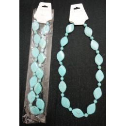 72 Units of NecklacE-Turquoise Flat Oval Beads - Necklace