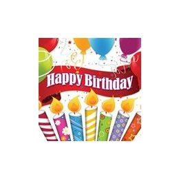 144 Units of Happy Birthday Candles With Balloons Luncheon Napkins - 16ct. - Party Paper Goods