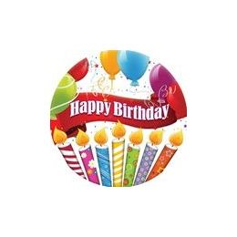 """144 Units of Happy Birthday Candles With Balloons 9"""" Plate - 8ct. - Party Paper Goods"""