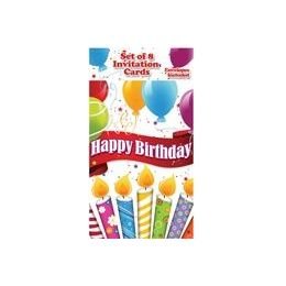 144 Units of Happy Birthday Candles with Balloons Invitations - 8CT. - Invitations & Cards