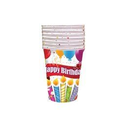 144 Units of Happy Birthday Candles with Balloons Cups - 8 CT. - Party Paper Goods