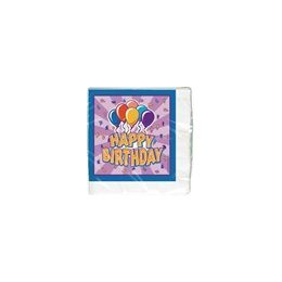 144 Units of Birthday Balloon Beverage Napkins - 16 Ct. - Party Paper Goods