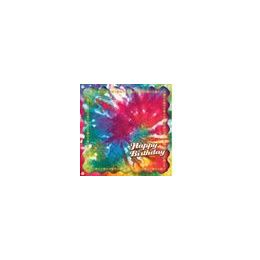 144 Units of Happy Birthday Tie Dye Beverage Napkins - 16CT. - Party Paper Goods