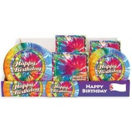 Tie Dye Pre-Packed Counter Shipper, 96 Ct. - Party Paper Goods