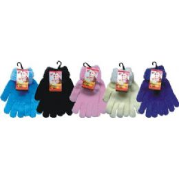 48 Units of Ladies Chenille Glove Asst Colors With Fur Cuff - Knitted Stretch Gloves