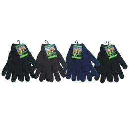 36 Units of Mens Knit Glove Heavy Duty Assorted Dark Colors - Knitted Stretch Gloves