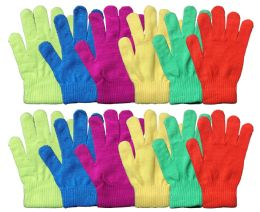 72 Units of Neon Craze Magic Gloves - Knitted Stretch Gloves