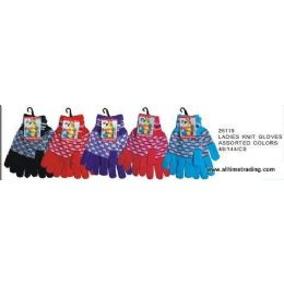 144 Units of Ladies Knit Gloves Assorted Colors - Knitted Stretch Gloves