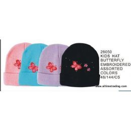 144 Units of Kids Hat With Butterfly Embroidery - Junior / Kids Winter Hats