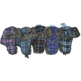 48 Units of Plaid Print Aviator Hat - Trapper Hats