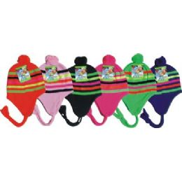96 Units of Neon Craze Striped Fleece Winter Hat - Winter Helmet Hats