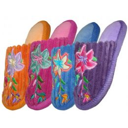 48 Units of Girls Plush Slipper With Flower Embroidery - Girls Slippers