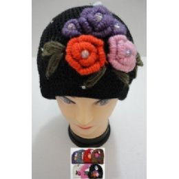 72 Units of Hand Knitted Fashion CaP--5 Flowers And Rhinestones - Fashion Winter Hats
