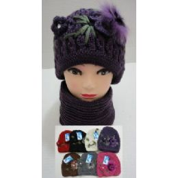 48 Units of Hand Knitted Fashion Hat & Scarf Set--1 Flower & Fur - Winter Sets Scarves , Hats & Gloves