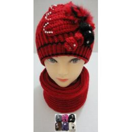 48 Units of Hand Knitted Fashion Hat & Scarf Set--Rhinestones-Beads-Fur - Winter Sets Scarves , Hats & Gloves