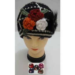 36 Units of Hand Knitted Fashion Cap--3 Flowers & Fur - Fashion Winter Hats