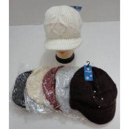 24 Units of Ladies Hand Knitted Cap With Rhinestones - Winter Beanie Hats