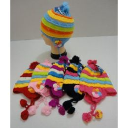 72 Units of Child's Knit Cap With Ear Flap And PompoM--Flowers - Junior / Kids Winter Hats