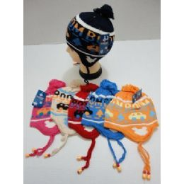 72 Units of Child's Knit Cap with Ear Flap--Cars - Junior / Kids Winter Hats