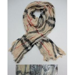 72 Units of Crinkle Scarf with Fringe--Plaid - Footwear Accessories