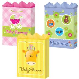 144 Units of GifT-Bag Jumbo Mat Baby Shower 3 Styles - Gift Bags Baby