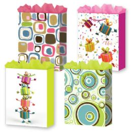 144 Units of Gift-Bag Jumbo Girls Everyday 4 Styles - Gift Bags Everyday