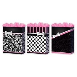 144 Units of Pretty in Pink 3 Asst. Large 10.25 - Gift Bags Assorted