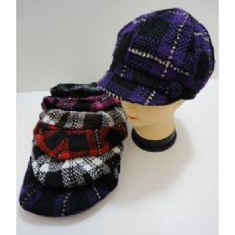 60 Units of Ladies Knit NewsboY-Heavy Knit Plaid With Sparkles - Fashion Winter Hats